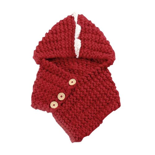 Cute Dinosaur Knitted Winter Scarf Hat Warm Keep Accessory-Red
