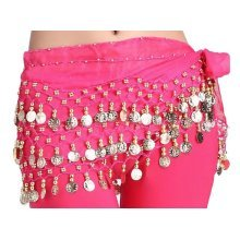 Chiffon Rose Pink Belly Dance Scarf With Dangling Gold Coins Belt Skirt