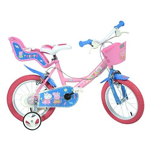 Dino Peppa Pig Pink Girls Bike with Doll Carrier