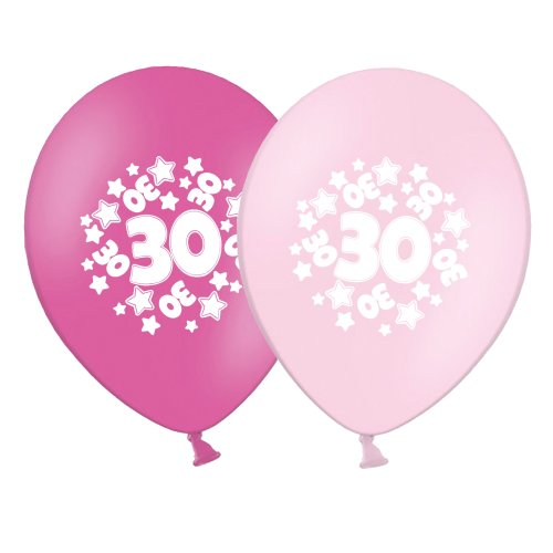 "number 30 - stars -  12""  Pink Assortment Latex Balloons pack of 20"