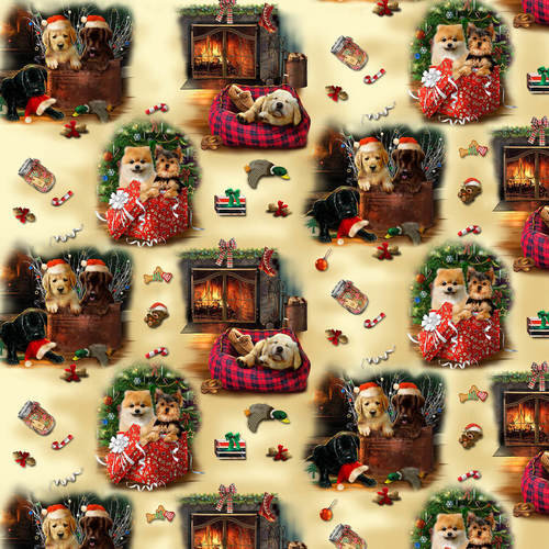 Fat Quarter Fireside Pups Scenic Dogs Cotton Quilting Sewing Christmas Fabric
