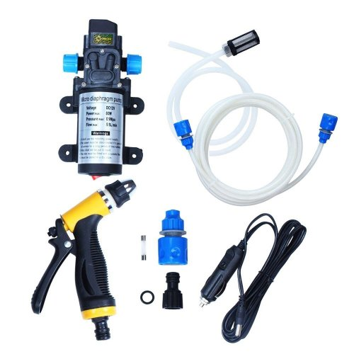 theBlueStone 80W 12V Car Washer Kit High Pressure Water Pump Wash Set Sprayer Gun Electric Self-priming for...