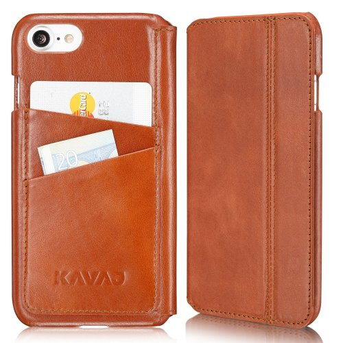 brand new 6bd4a e729c KAVAJ iPhone 8 iPhone 7 Case Leather Dallas Cognac-Brown Slim-Fit Genuine  Leather iPhone 8 Wallet Case Leather Flip Case Folio With Business Card...