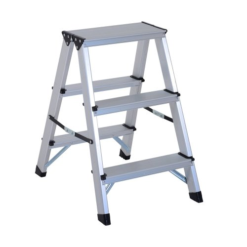 Homcom Aluminium Double Sided Step Ladder Folding A-type Household Stepper (3 Steps)