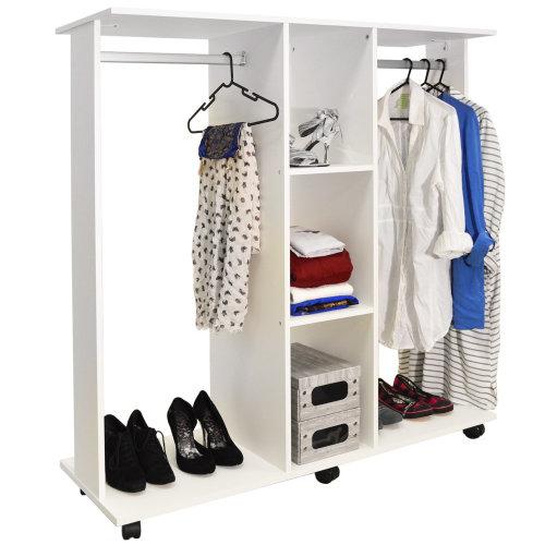 MOBILE - Double Open Wardrobe / Clothes Hanging Rail - White