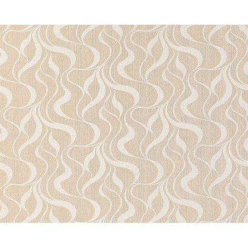 EDEM 699-93 Abstract wave stripes non-woven wallpaper brownbeige white 10.65 sqm