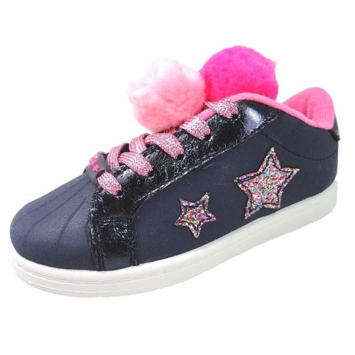 Buckle My Shoe Navy Faux Suede with Pink Pom Poms