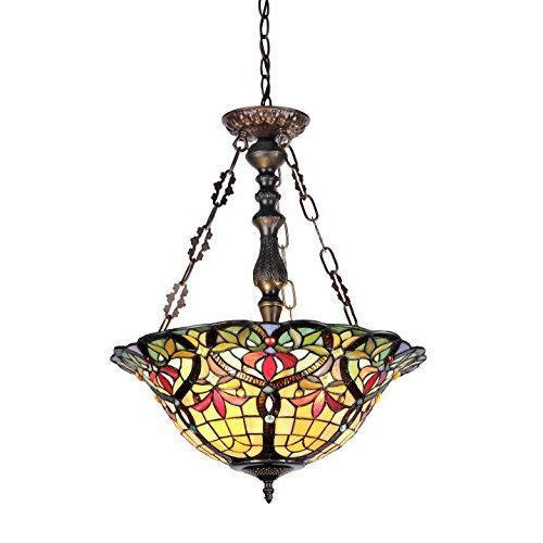 Chloe Lighting CH33389VR18 UH3 Tiffany Style Victorian 3 Light Inverted Ceiling Pendant 18 Inch Shade Multi Colored