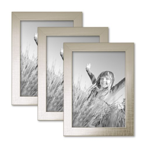 Set of 3 Picture Frames with Dimensions of 13x18 cm / 7 x 5 Inch, in Silver, Modern, Solid Wood, with Glass Insert, including Accessories/Photo Frame