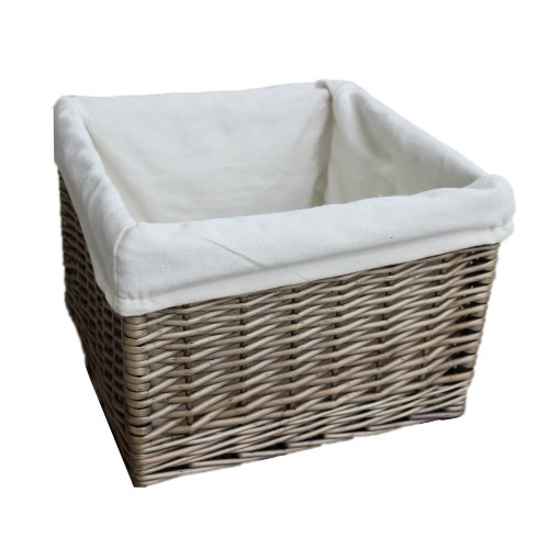 Medium Square Antique Wash Wicker Lined Storage Basket