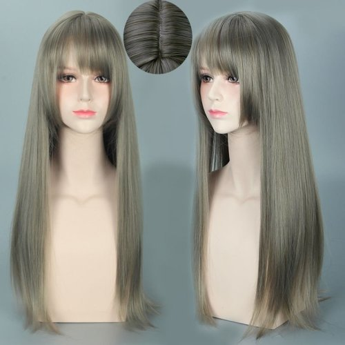 Yurisa Air Bangs Mixed Gray Cosplay Harajuku Animation Long Hair Wig 70cm/27.6