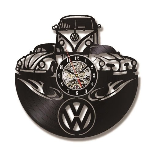 Volkswagen Car Logo Vinyl Record Hollow Black LED Wall Clock