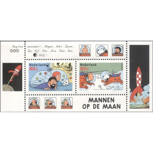 Netherlands 1999 Herge/ Tintin/ Snowy/ Dog/ Space/ Animation/ Cartoons/ Book/ Film 2v m/s (s1028a)