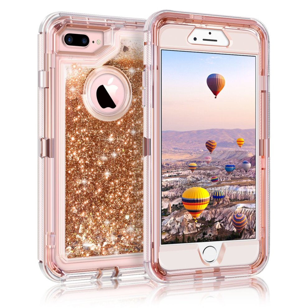 newest 09080 5d56a Coolden iPhone 8 Plus Case, Heavy Duty Shockproof iPhone 7 Plus Case  Glitter Floating Bling Shiny Sparkle Quicksand Liquid Clear Bumper  Protective...