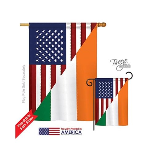 Breeze Decor 08237 US Irish Friendship 2-Sided Vertical Impression House Flag - 28 x 40 in.