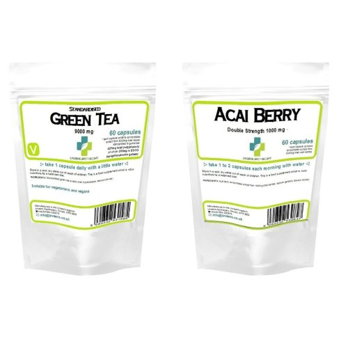60 Acai Berry 1000mg 60 Green Tea Extract 9000mg Capsules Weight Loss Diet Pack