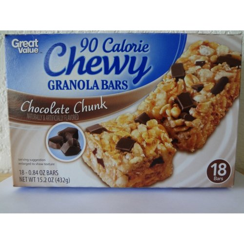 Great Value Chewy 90 Calorie Granola Bars, Chocolate Chunk 18 ct- 0.84 oz (24g)