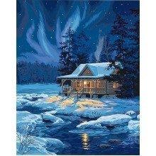 Dpw91223 - Paintsworks Paint by Numbers - Moonlit Cabin