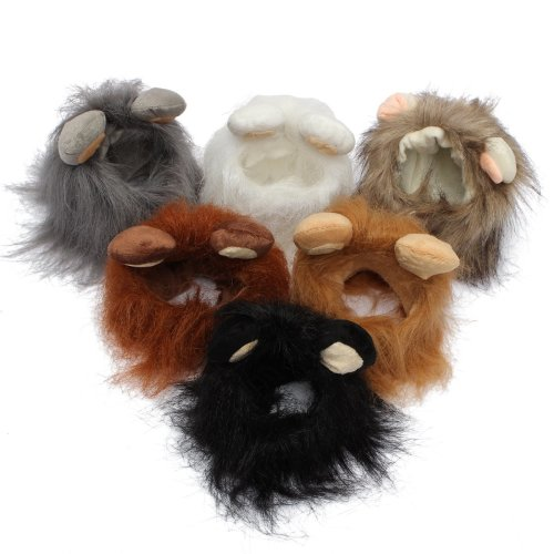 S Pet Dog Cat Artificial Lion Mane Wig Halloween Costume