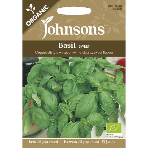 Johnsons Seeds - Pictorial Pack - Herb - Basil Sweet (ORGANIC) - 300 Seeds