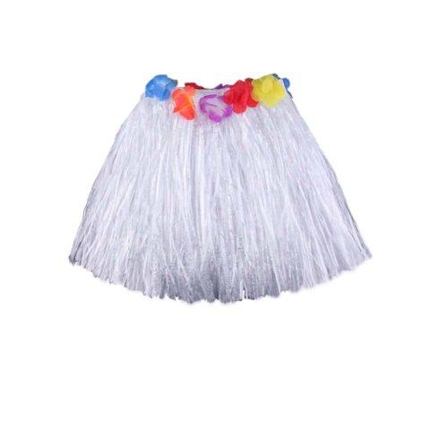 Hawaiian Hula Skirt Party Fancy Short Dress Costumes,White