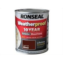 Ronseal 10 Year Weatherproof Exterior Wood Paint 750ml - GLOSS Dark Oak