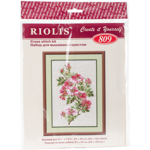 """May Wild Rose Counted Cross Stitch Kit-8.25""""X11.75"""" 16 Count"""