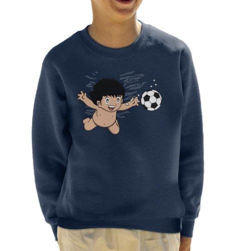 (Medium (7-8 yrs), Navy Blue) Soccermind Nirvana Captain Tsubasa Kid's Sweatshirt