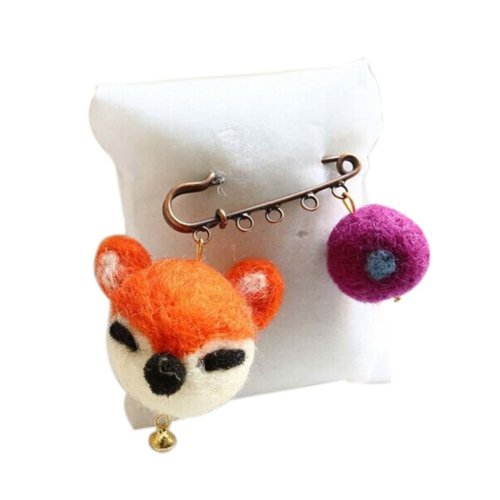 Cute Cartoon Animal Wool Felt Brooch Pin Clothing Accessories, Fox