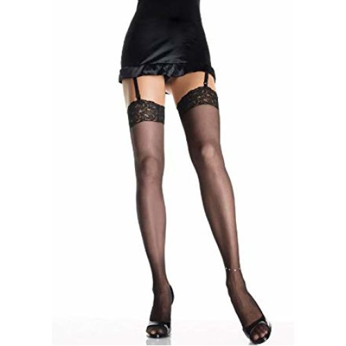 Leg Avenue - Sheer lace top thigh highs with rhinestone anklet. - Plus Size - Black - 9216