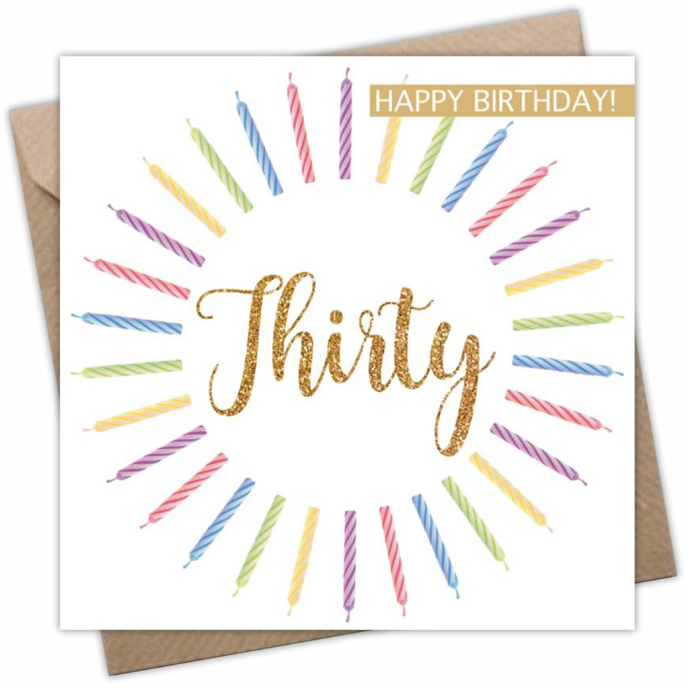 Thirty Birthday Card For Him Or Her Age 30 Years