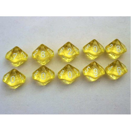 Chessex Translucent Yellow/white 10 x D10 Set