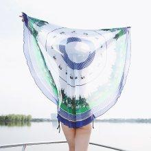 150CM Women Round Shape Printed Thin Chiffon Beach Towels Scarf Casual Travel Sunshade Shawl