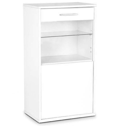 CONTEMPORARY - Wall / Floor Storage Cabinet with Glass Door and Shelf - White
