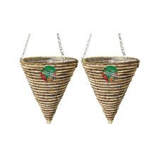 2 X Kingfisher 30 cm Rope Cone Garden Plant Lined Basket 40 cm Hanging Chain