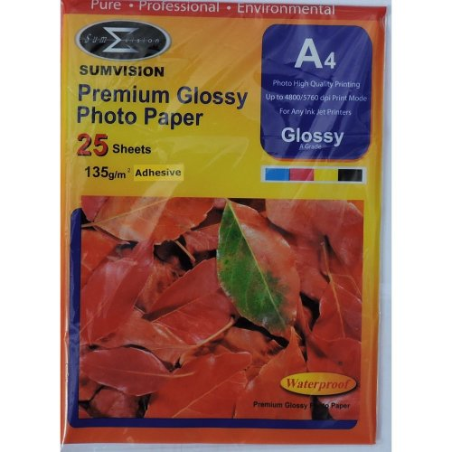 Sumvision A4 135gsm Premium Self Adhesive Gloss Photo Paper