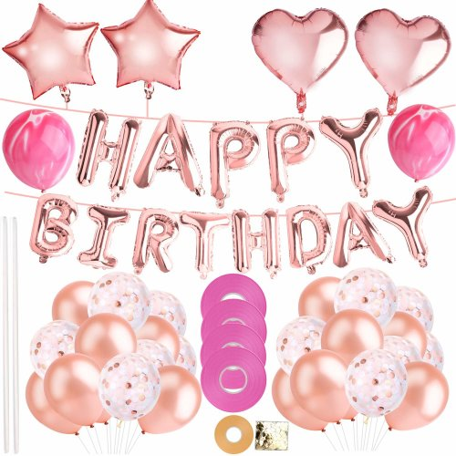 Defrsk 76 Pcs Happy Birthday Decoration Supplies Banner Party Balloon Rose Gold Balloons Decorations Set With Confetti On OnBuy