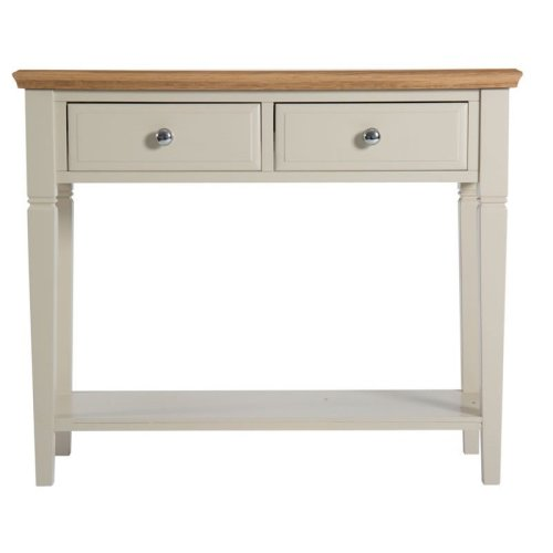 Cunningham Console Table 2 Drawer Truffle Cream Painted Finish Fully Assembled