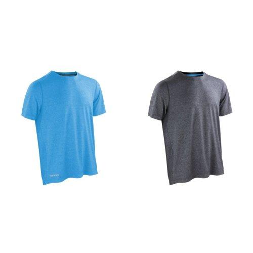 Spiro Mens Shiny Marl Short Sleeve Fitness T-Shirt