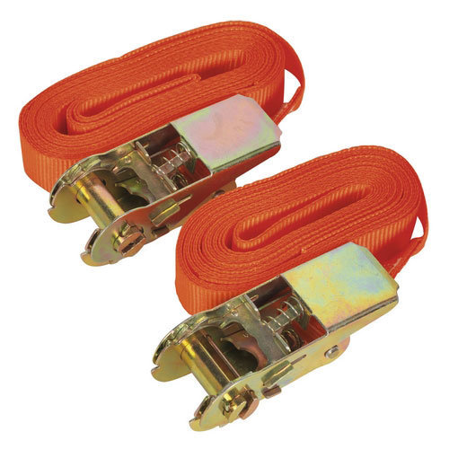 Sealey TD05045E 25mm x 4.5mtr Self-Securing Ratchet Tie Down 500kg Load Test - Pair