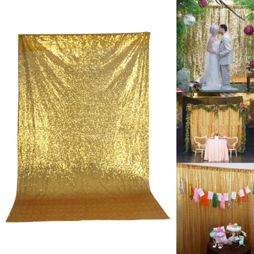 4X6FT Golden Shiny Sequin Photo Backdrop Wedding Photography Background Booth
