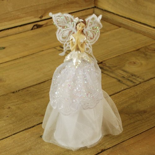 23cm Fabric Angel Christmas Tree Topper White