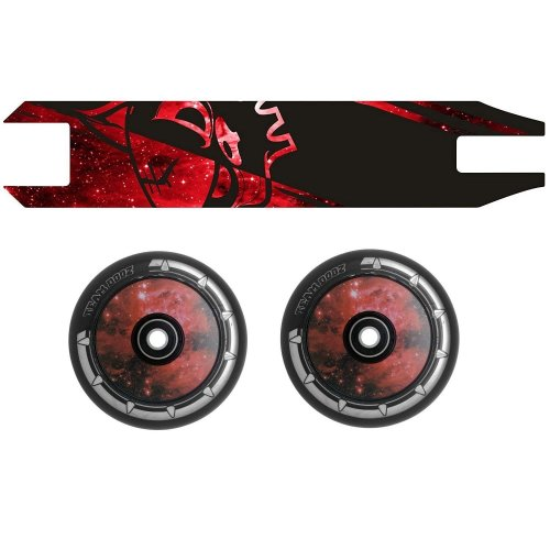 Combo Pair Team Dogz Red Galaxy Scooter Wheels 120mm Hollow Core + Grip Tape