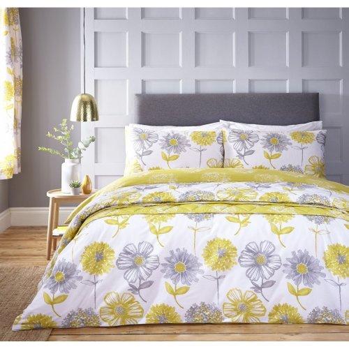 Catherine Lansfield Banbury Floral Easy Care Single Duvet Set Yellow