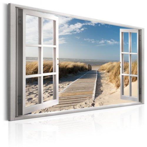 Window: View Of The Beach Canvas Print