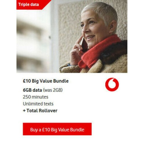 Vodafone Big Value Bundle Pay As You Go Sim Card - TRIPLE DATA SIM 6GB - 3 SIZES