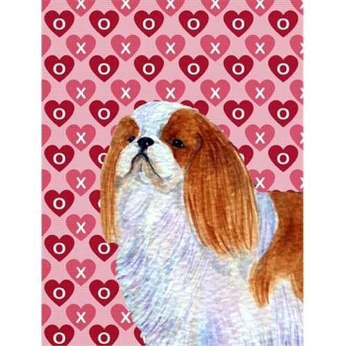 11 x 15 In. English Toy Spaniel Hearts Love And Valentines Day Portrait Flag, Garden Size