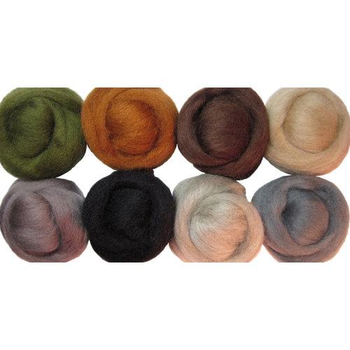 "Wistyria Editions Wool Roving 12"" .25oz 8/Pkg-Rustic"