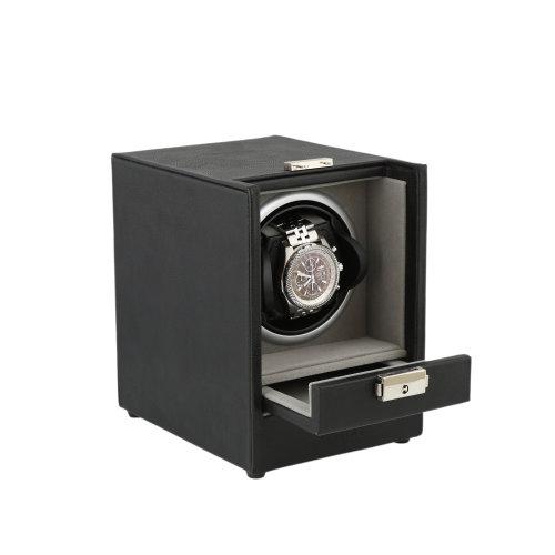 Black Genuine Leather Watch Winder Platinum Velvet Lining by Aevitas