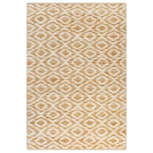 vidaXL Hand-Woven Jute Area Rug Fabric 160x230cm Natural and White Carpet